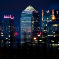 Canary Wharf in Pink