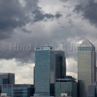 Storm clouds gather over Canary Wharf and the financial buildings in the London Docklands. Poplar, East London.  © Jess Hurd/reportdigital.co.uk Tel: 01789-262151/07831-121483   info@reportdigital.co.uk   NUJ recommended terms & conditions apply. Moral rights asserted under Copyright Designs & Patents Act 1988. Credit is required. No part of this photo to be stored, reproduced, manipulated or transmitted by any means without permission.