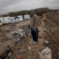 Refugees in the makeshift Jungle camp prior to a demolition planned by French authorities. Calais, France.  © Jess Hurd/reportdigital.co.uk